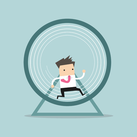 man isolated: Businessman running in a hamster wheel