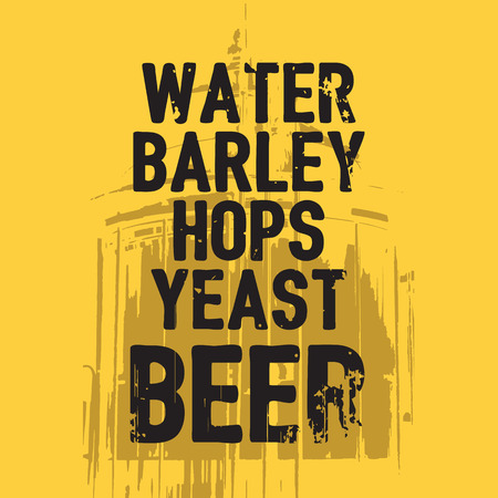 draft beer: Beer Water Barley Hops Yeast quote Stock Photo