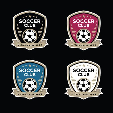 campeonato de futbol: Conjunto de crestas de fútbol soccer y diseños de logotipo emblema