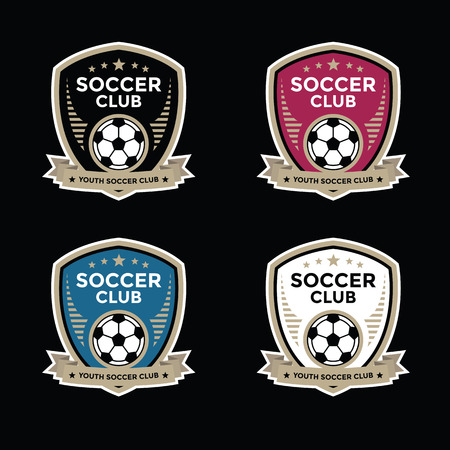 team sport: Set of soccer football crests and logo emblem designs Stock Photo