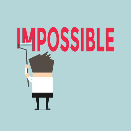 possible: Businessman painting the word impossible to possible by paint roller vector