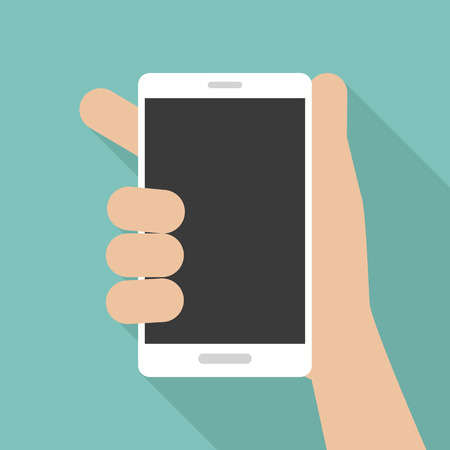 Mobile phone in hand, flat style. Vector illustration Illustration
