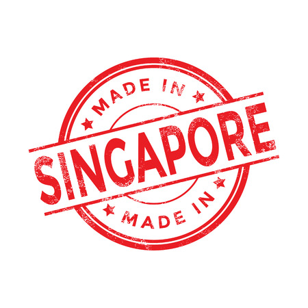 flag icon: Made in Singapore red vector graphic. Round rubber stamp isolated on white background. With vintage texture. Illustration