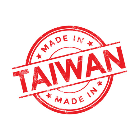 Made in Taiwan red vector graphic. Round rubber stamp isolated on white background. With vintage texture. 向量圖像
