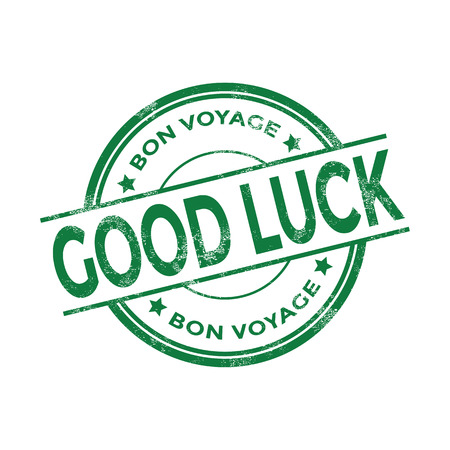 inkpad: Green good luck Bon Voyage stamp vector Illustration
