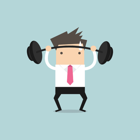heavy: Businessman lifting a heavy weight vector