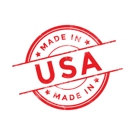 Made in USA red vector graphic. Round rubber stamp isolated on white background. With vintage texture. Ilustração