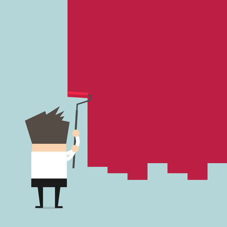 painting on the wall: Businessman painting a wall with red paint and a paint roller vector Illustration