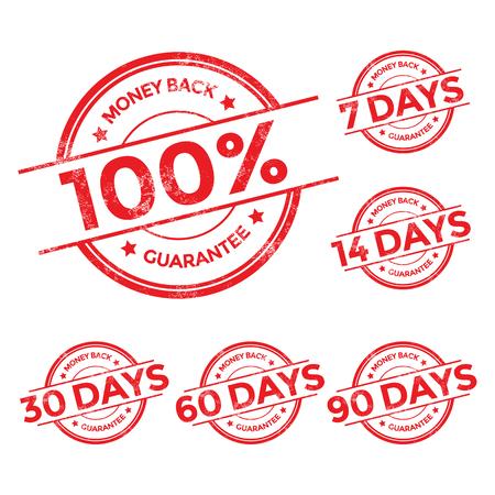 dia: Garantía de reembolso Conjunto de sello rojo, ilustración vectorial