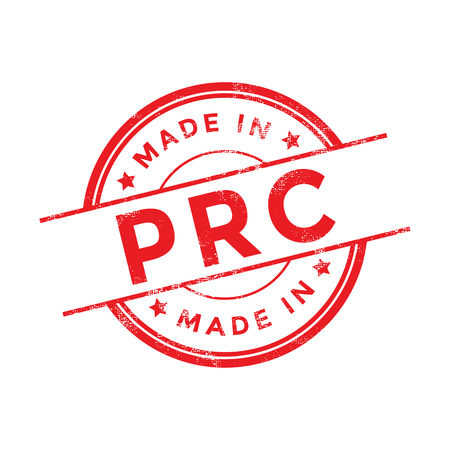 made in china: Made in PRC red vector graphic. Round rubber stamp isolated on white background. With vintage texture.