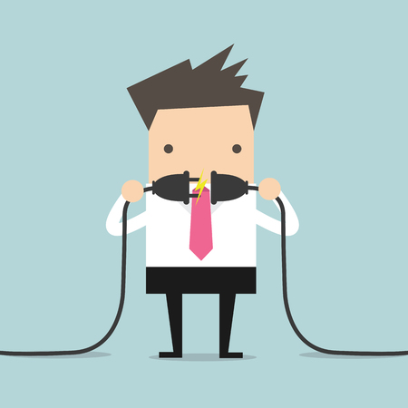 power cord: Businessman connecting a power cord Illustration