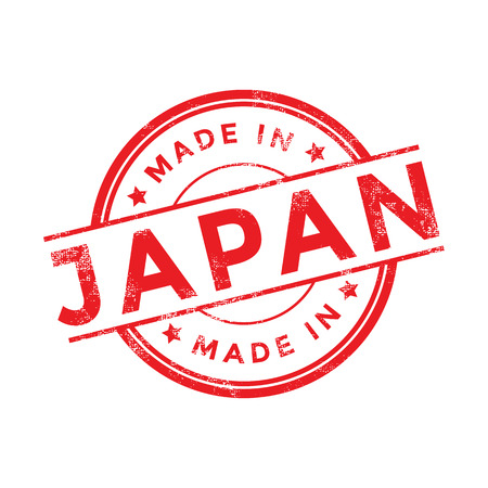 Made in Japan red vector graphic. Round rubber stamp isolated on white background. With vintage texture.