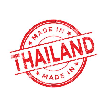 sello: Hecho en Tailandia rojo vector gr�fico. Sello de goma redonda aisladas sobre fondo blanco. Con textura vintage.