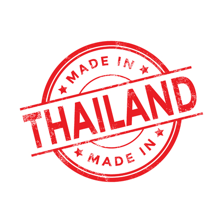 stamp: Made in Thailand red vector graphic. Round rubber stamp isolated on white background. With vintage texture.