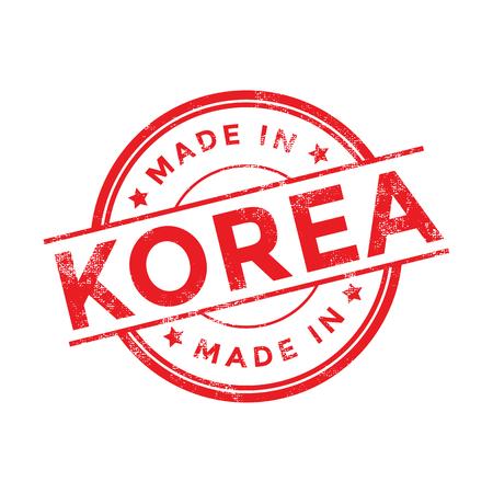 Fabriqué en Corée rouge vecteur graphique. tampon en caoutchouc ronde isolé sur fond blanc. Avec texture vintage. Vecteurs