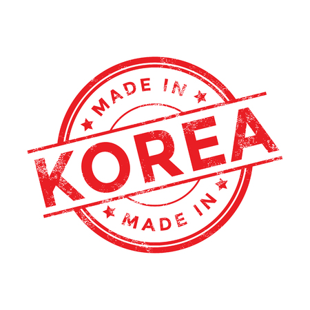 Made in Korea red vector graphic. Round rubber stamp isolated on white background. With vintage texture. Ilustração