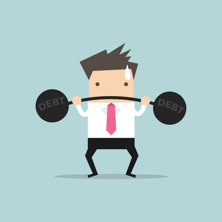heavy weight: Businessman lifting heavy weight debt.vector