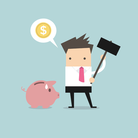 banks: Businessman try to brake piggybank vector