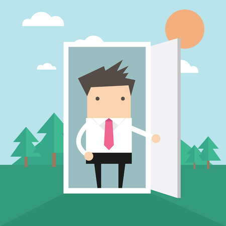go inside: Businessman open the door from office to nature Illustration