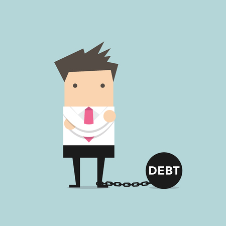 burden: Businessman with debt burden vector Illustration