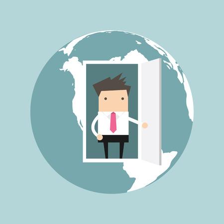 opens: Businessman opens door from the globe