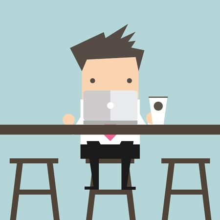 사업가 커피 바에서 노트북에서 작동