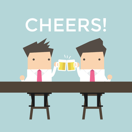 fortunate: Two businessmen drinking beer at the bar Illustration