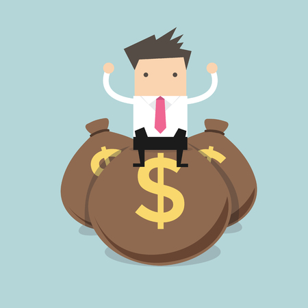 Businessman sitting on top of a pile of dollar money bags