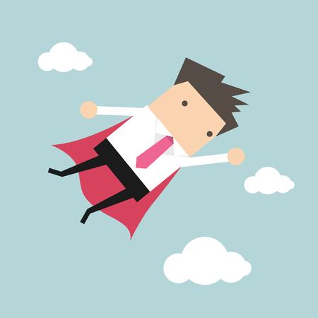 Businessman flying in sky Illustration