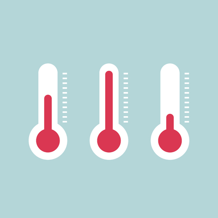coldness: Thermometers with different levels, vector