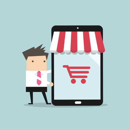 Businessman with online shop on tablet. Online shopping concept. Web store.