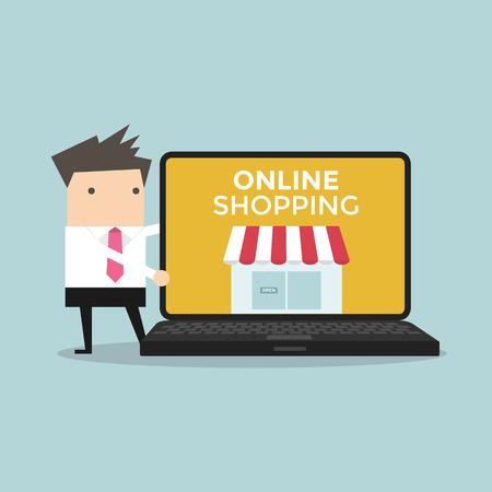 promote: Businessman promote online shop in computer