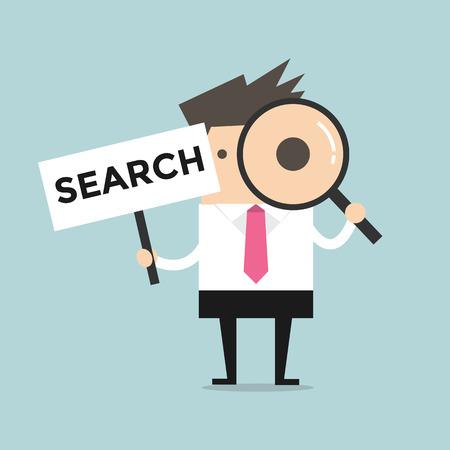 investigacion: Empresario busca a través de una lupa con Buscar Entrar