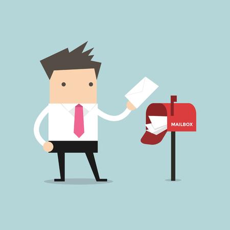 buzon: El hombre de negocios tiene una gran cantidad de correo en el buzón rojo.