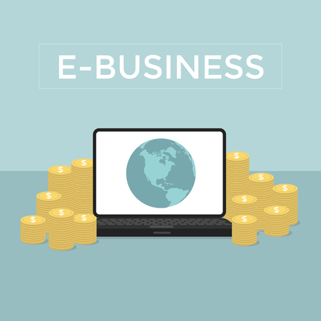 ebusiness: E-Business Make money from computer and internet Illustration