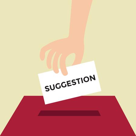 vorschlag: Hand setzen Vorschlag Papier in der Box