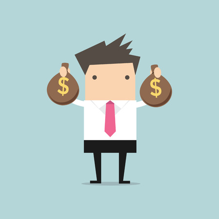 hand with money: Businessman holding money bag in hands Illustration