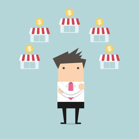 実業家滑走フランチャイズ ビジネス  イラスト・ベクター素材