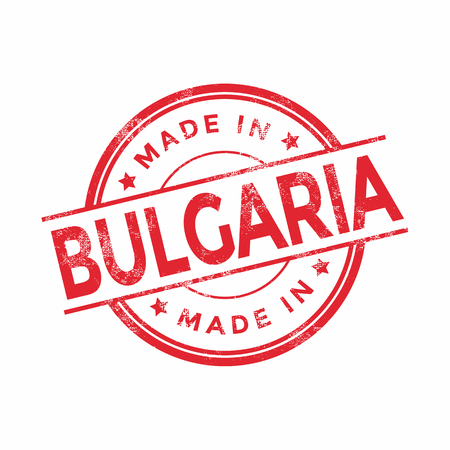 vintage texture: Made in Bulgaria red vector graphic. Round rubber stamp isolated on white background. With vintage texture. Illustration