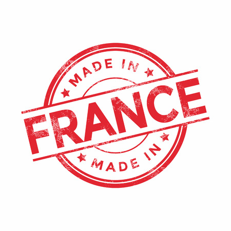 produce product: Made in France red vector graphic. Round rubber stamp isolated on white background. With vintage texture.