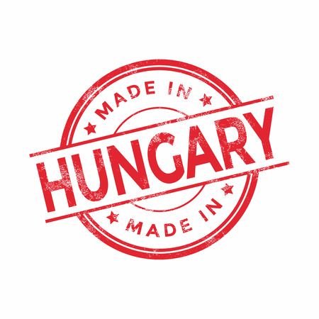 graphic texture: Made in Hungary red vector graphic. Round rubber stamp isolated on white background. With vintage texture.