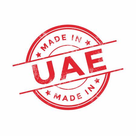 vintage texture: Made in UAE red vector graphic. Round rubber stamp isolated on white background. With vintage texture.