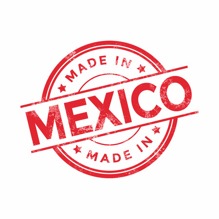 graphic texture: Made in Mexico red vector graphic. Round rubber stamp isolated on white background. With vintage texture. Illustration