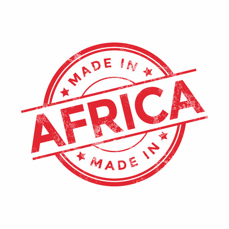 Made in Africa red vector graphic. Round rubber stamp isolated on white background. With vintage texture. Illustration