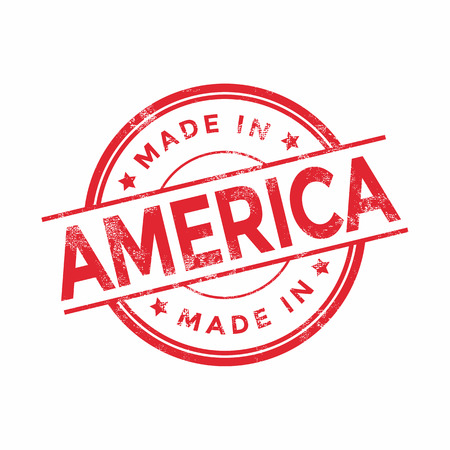 Made in America red vector graphic. Round rubber stamp isolated on white background. With vintage texture.