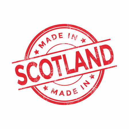 graphic texture: Made in Scotland red vector graphic. Round rubber stamp isolated on white background. With vintage texture.