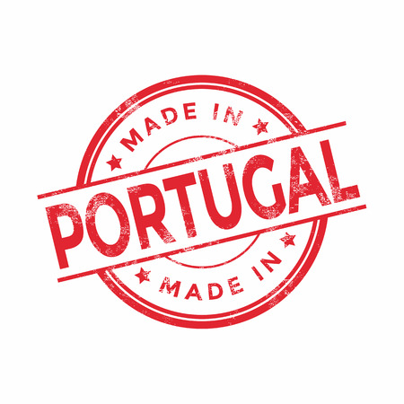 made in portugal: Made in Portugal red vector graphic. Round rubber stamp isolated on white background. With vintage texture.