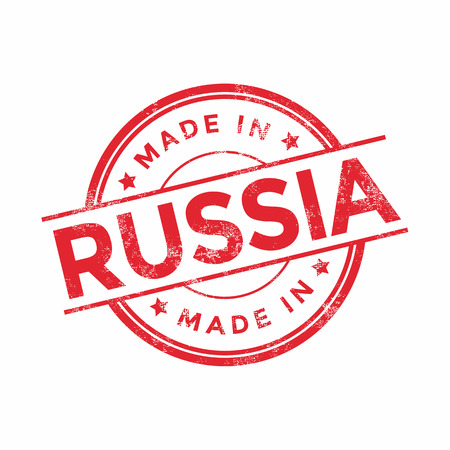 made in russia: Made in Russia red vector graphic. Round rubber stamp isolated on white background. With vintage texture.