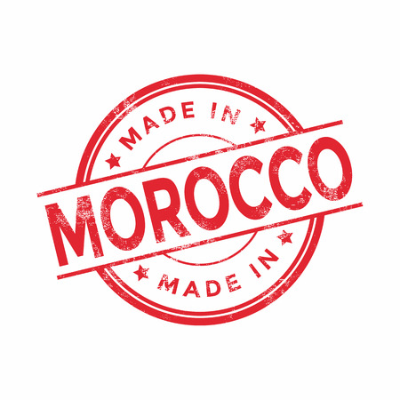 made in morocco: Made in Morocco red vector graphic. Round rubber stamp isolated on white background. With vintage texture.