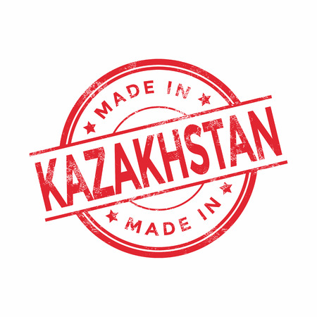 vintage texture: Made in Kazakhstan red vector graphic. Round rubber stamp isolated on white background. With vintage texture.